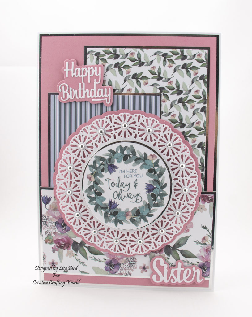 Handmade card using paper and dies from Creative Crafting World