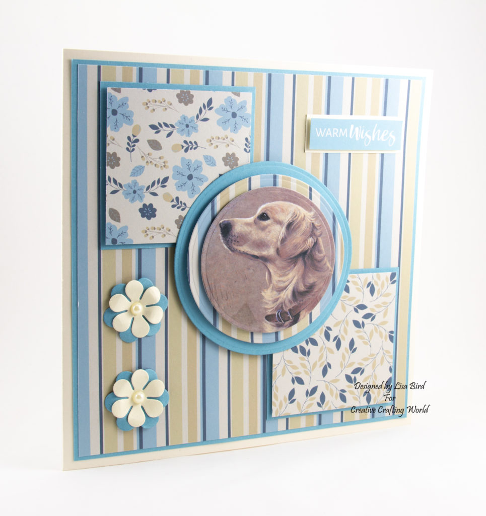 Handmade Golden Retriever Card In Blue And Cream