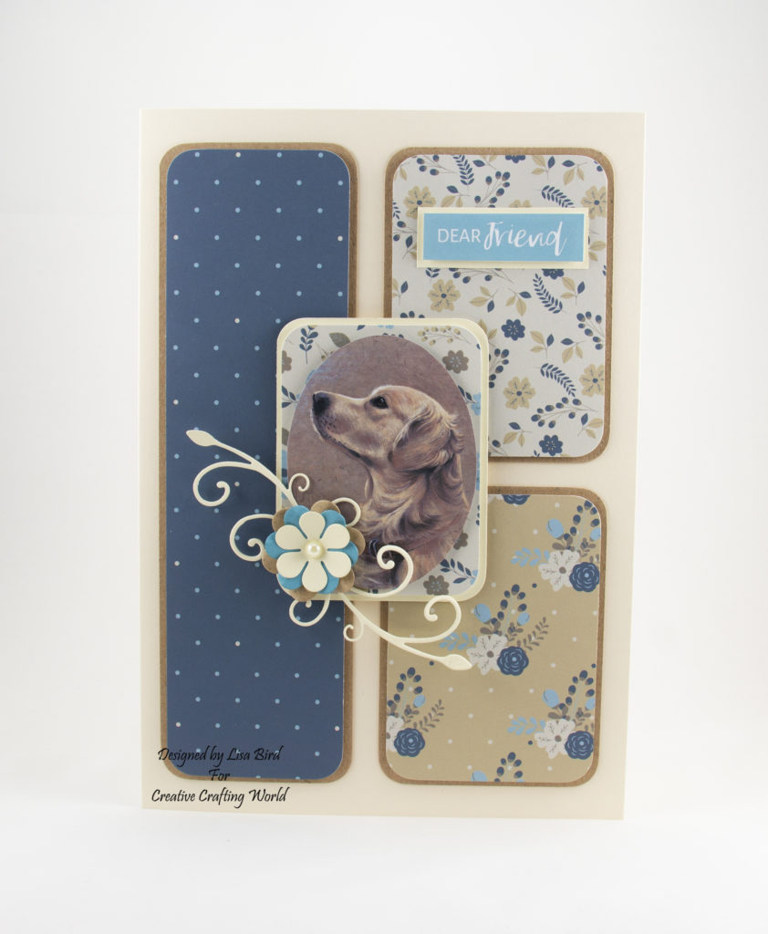 Handmade Golden Retriever Card In Blues, Cream and Brown