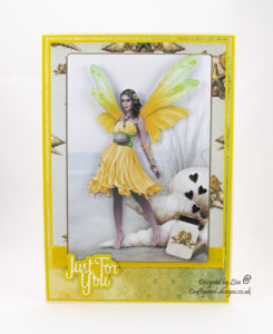 Handmade yellow summer fairy card