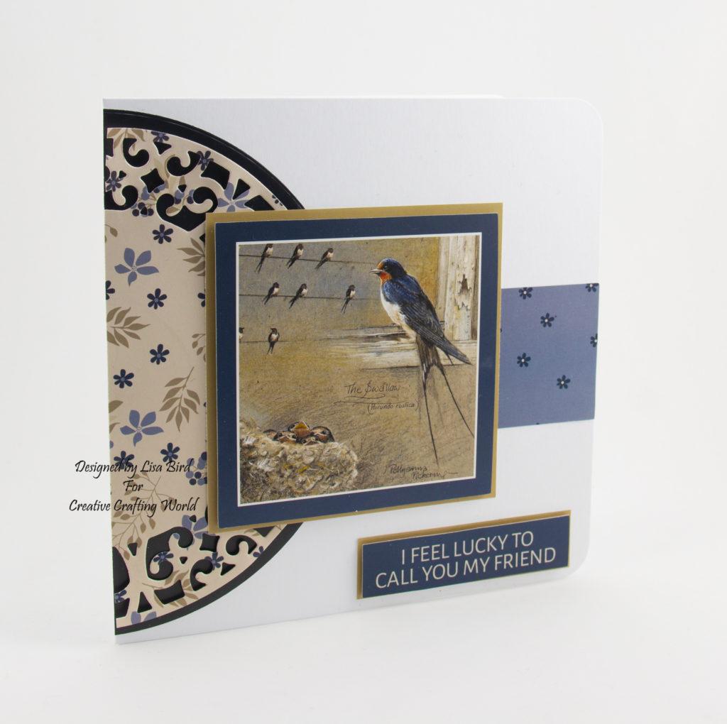 handmade swallow craft card bird