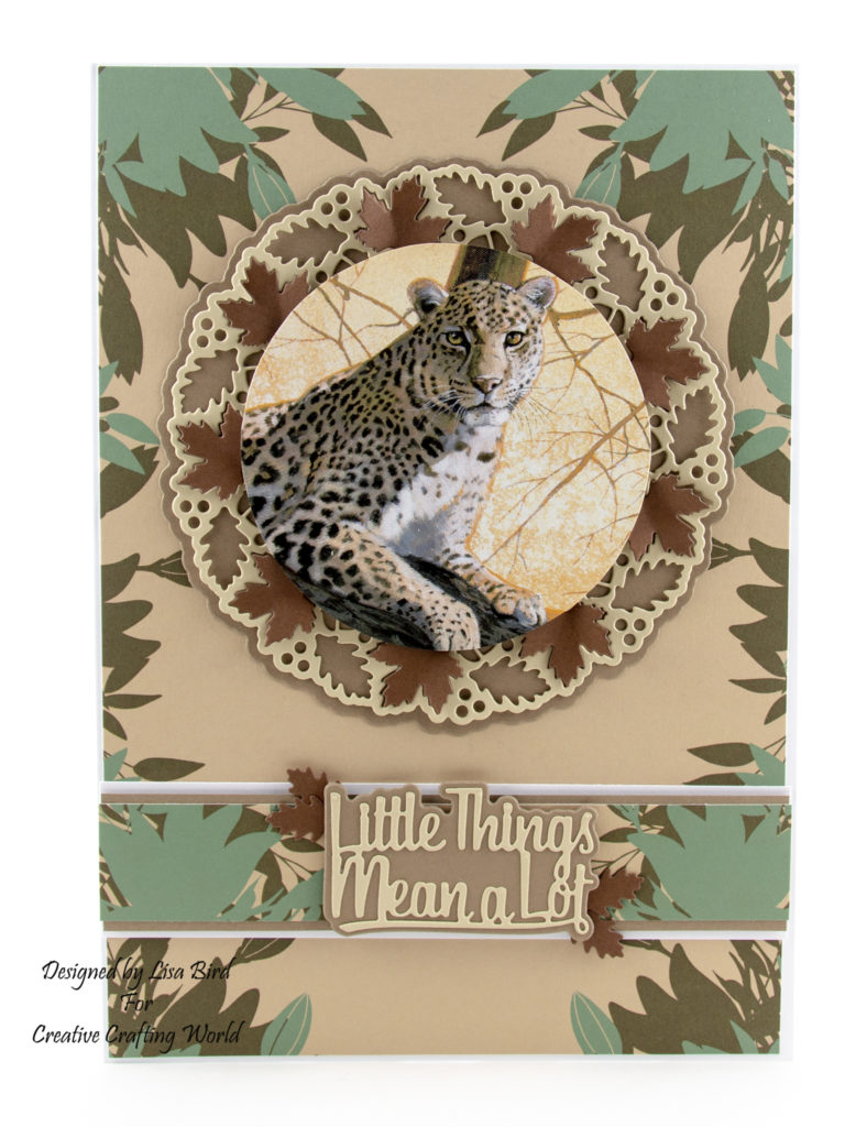This handmade card has been created using the new Pollyanna Pickering dvd- rom called 'African Safari II' by Creative Crafting World.