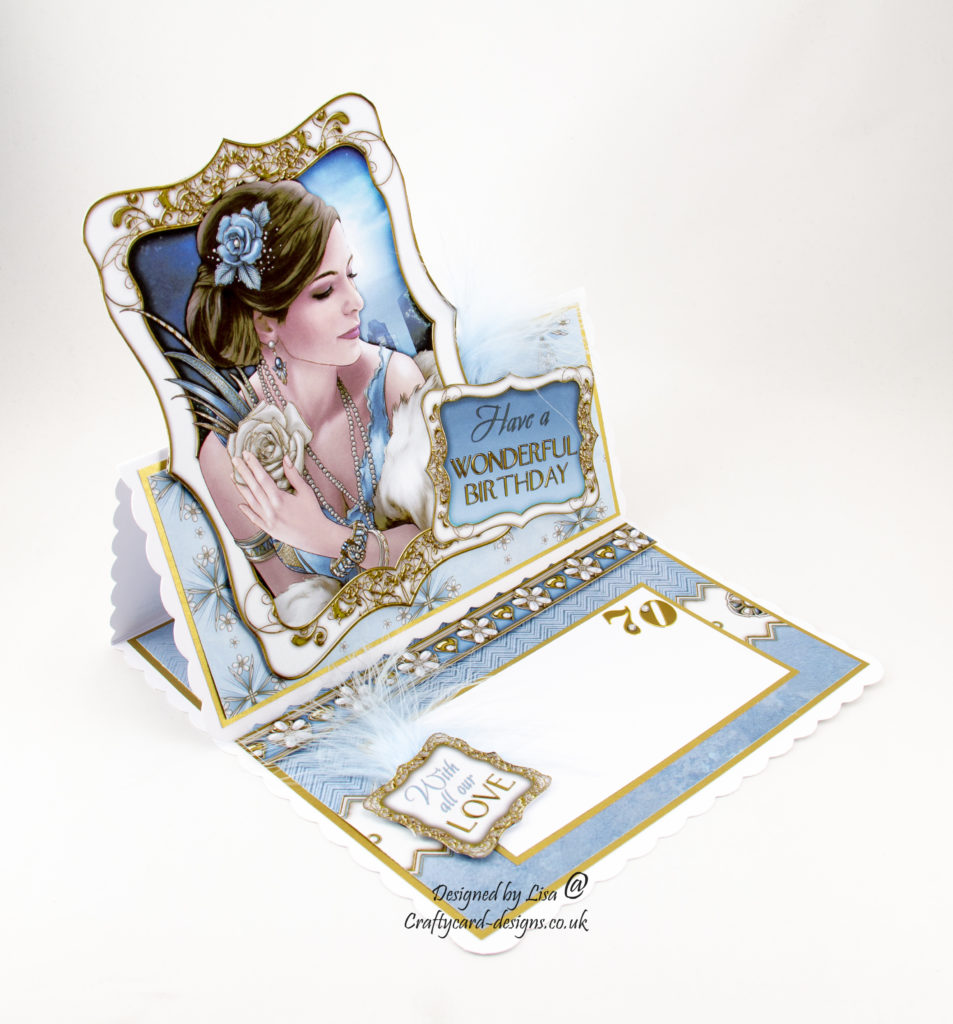 This handmade birthday card has been created using Art Deco Decadence Cd Rom by Debbi Moore Designs.