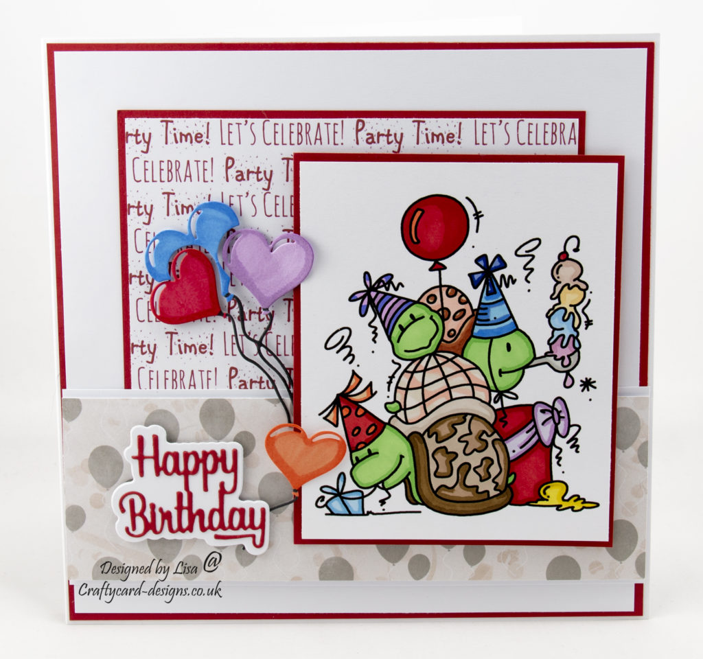 Today's handmade card has been created for I Love Promarker blog challenge 377.  I have used a digi image from Bugaboo Digi Stamps called Turtle Trio Birthday