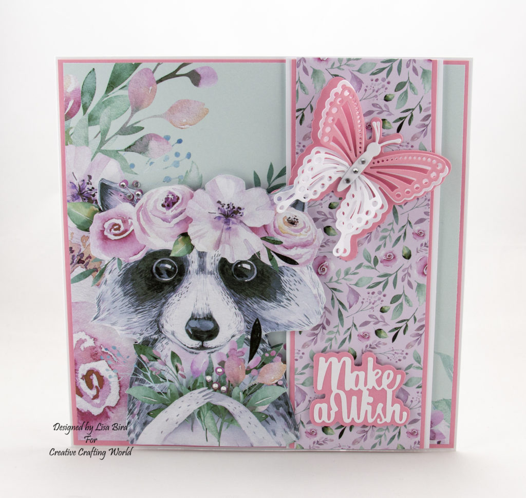 Today's handmade card has been created using the new paper collection fromCreative Crafting Worldcalled 'The Magical Forest'.