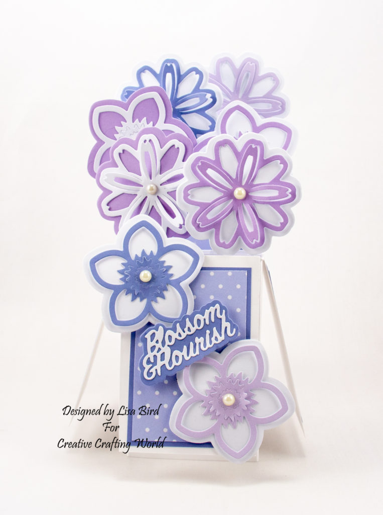 This handmade pop up box card has been created using the wonderful new die and paper collection from Creative Crafting World called 'Springtime Blooms'. This is another die and paper collection from The Paper Boutique range.