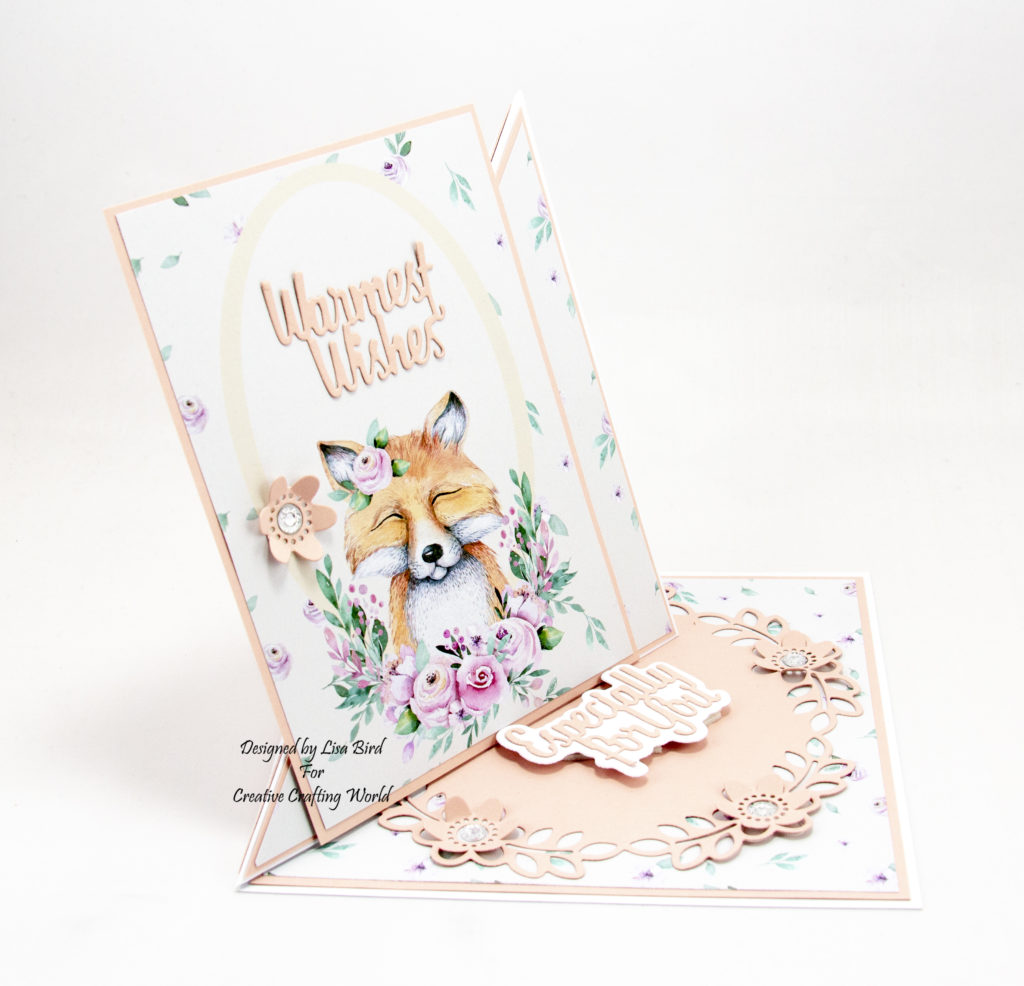 This handmade card has been created using a paper collection called 'The Magical Forest'. This paper collection is from The Paper Boutique range fromCreative Crafting World