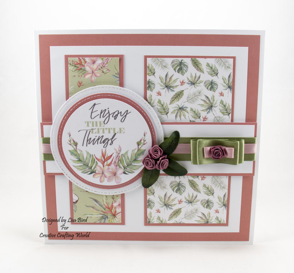 This handmade card has been created using a paper collection called 'Tropical Dreams'. This is a new paper collection is from The Paper Boutique range from Creative Crafting World