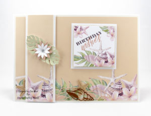 This handmade card has been created using a new paper collection called 'Tropical Dreams'. This is a paper collection from The Paper Boutique range from Creative Crafting World.