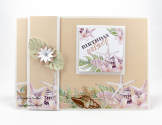 This handmade card has been created using a new paper collection called 'Tropical Dreams'. This is a paper collection from The Paper Boutique range fromCreative Crafting World.