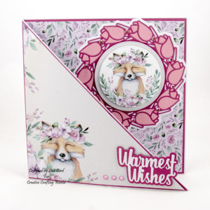 This handmade card has been created using 'The Magical Forest' paper collection from Creative Crafting World.