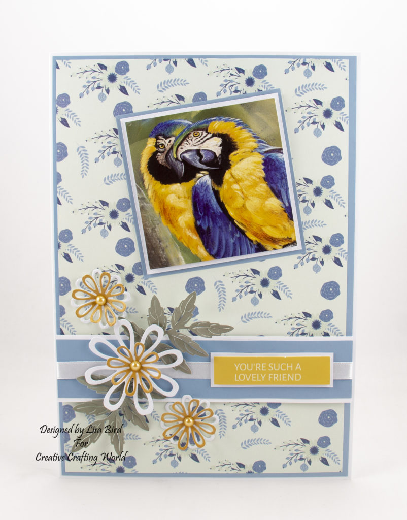 This handmade card has been created using World Wildlife Volume III paper collection from Creative Crafting World. With art work by Pollyanna Pickering.