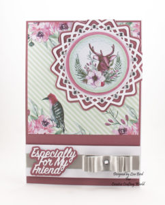 This handmade card has been created using a new paper collection called 'Forest Blooms' and a new die collection called 'Lovely Lattice Collection' This is a new range from The Paper Boutique fromCreative Crafting World.