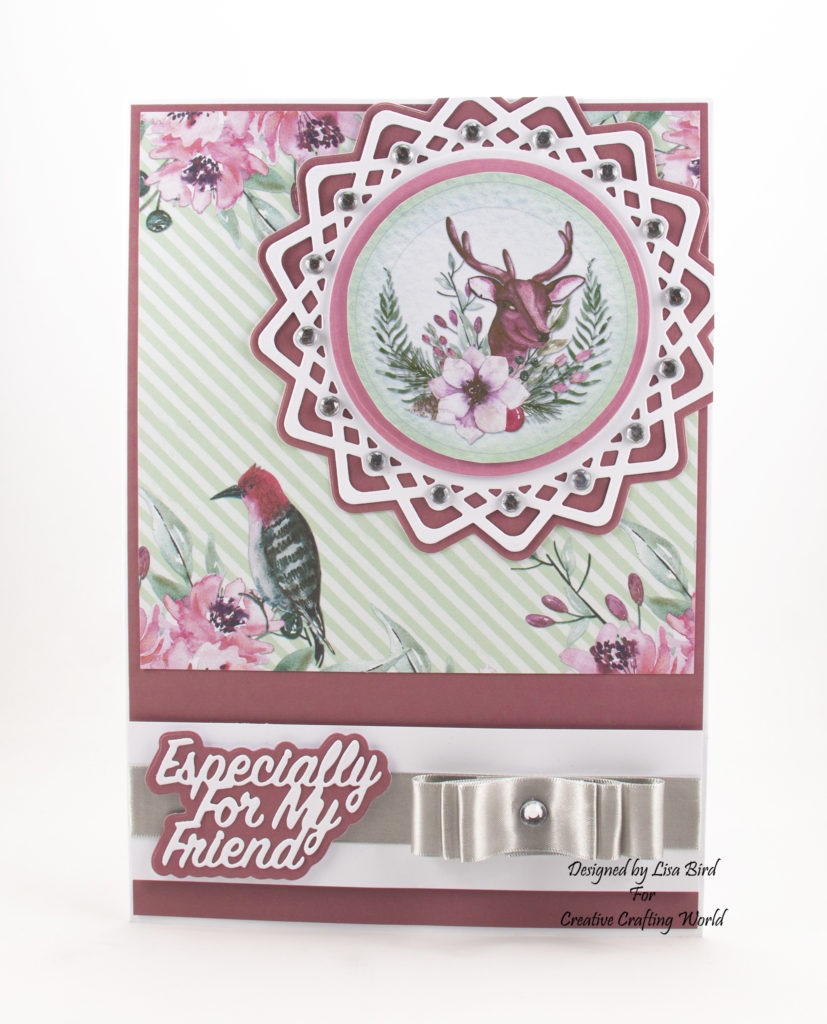 This handmade card has been created using a new paper collection called 'Forest Blooms' and a new die collection called 'Lovely Lattice Collection' This is a new range from The Paper Boutique from Creative Crafting World.