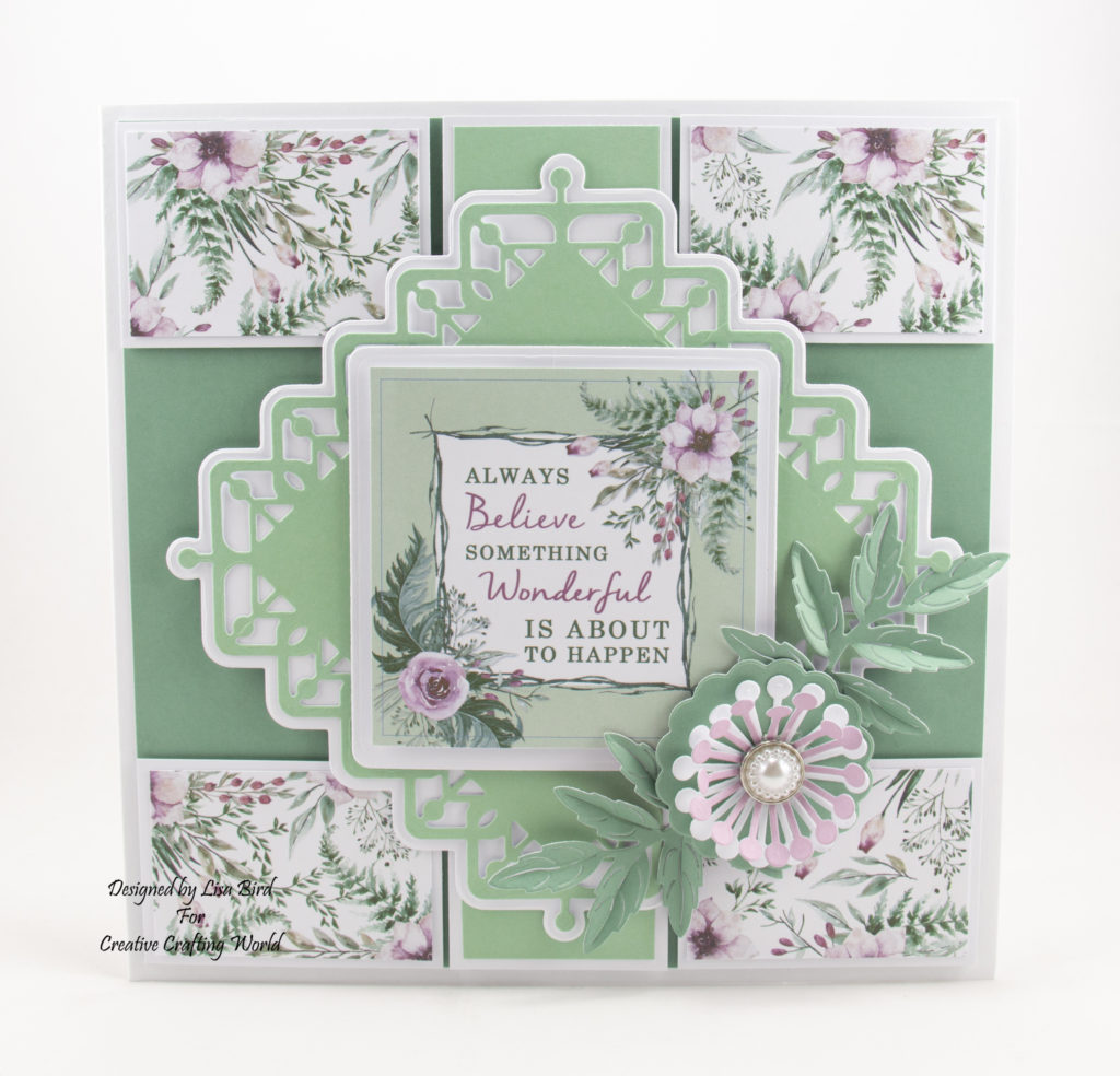 This handmade card has been created using a new paper collection called 'Forest Blooms' and a new die collection called 'Lovely Lattice Die Collection' This is a new range from The Paper Boutique from Creative Crafting World.