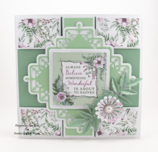 This handmade card has been created using a new paper collection called 'Forest Blooms' and a new die collection called 'Lovely Lattice Die Collection' This is a new range from The Paper Boutique fromCreative Crafting World.