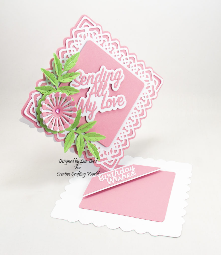 This handmade card has been created using a new die collection called 'Lovely Lattice'.  This is a new range from The Paper Boutique from Creative Crafting World.