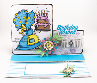 Today's handmade card has been created for the new challenge at I Love Promarkers Blog Challenge #383 that starts today. The optional theme for this challenge is to add embossing but you must use either promarkers, flexmarkers, aquamarkers or trias on your work. I have used a digi image from Bugaboo Stamps called Sunbonnet Birthday Cake