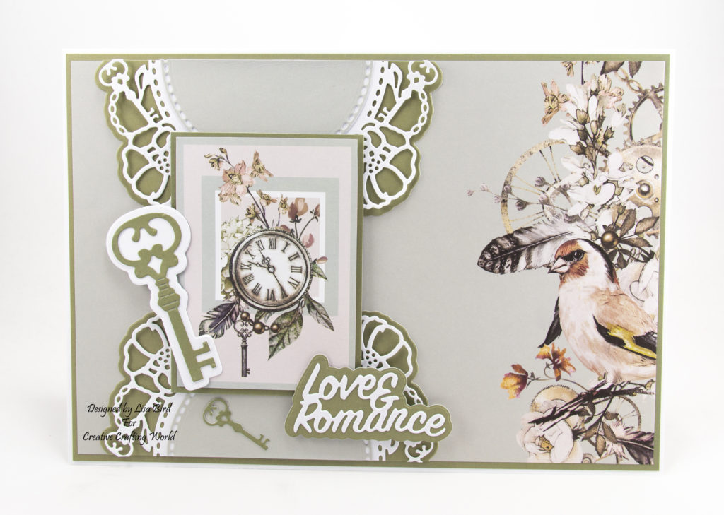 "7"" by 10"" Steampunk card with bird and key"