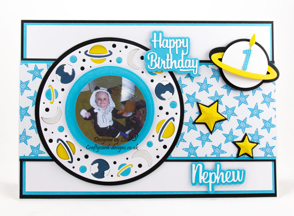 Stars, moon and planets, first birthday card
