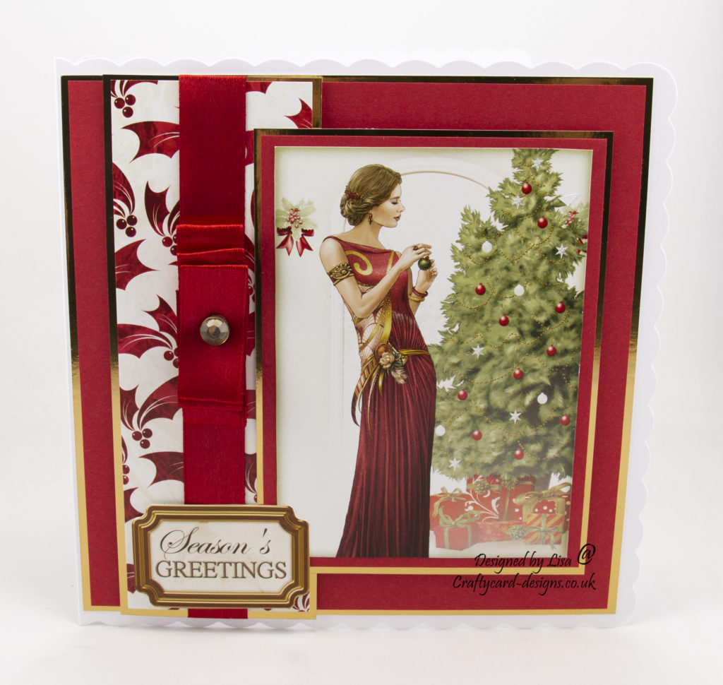 Art Deco lady and christmas tree with presents