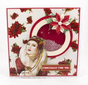 Christmas shaker card with poinsettias
