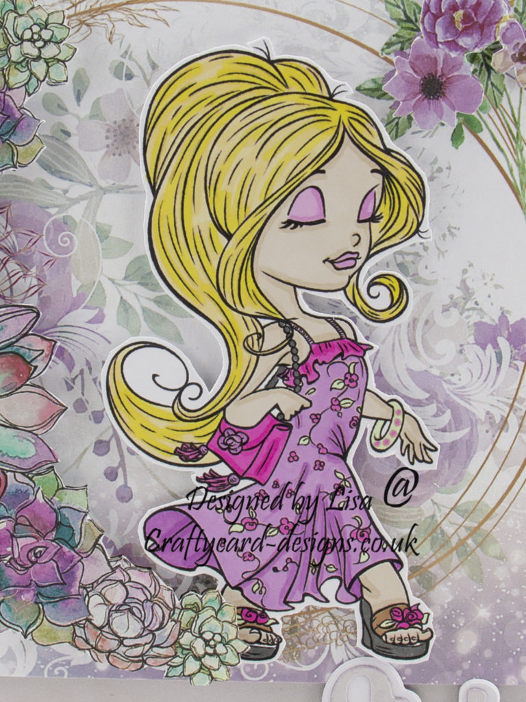 A close up of the girl digi stamp and colours