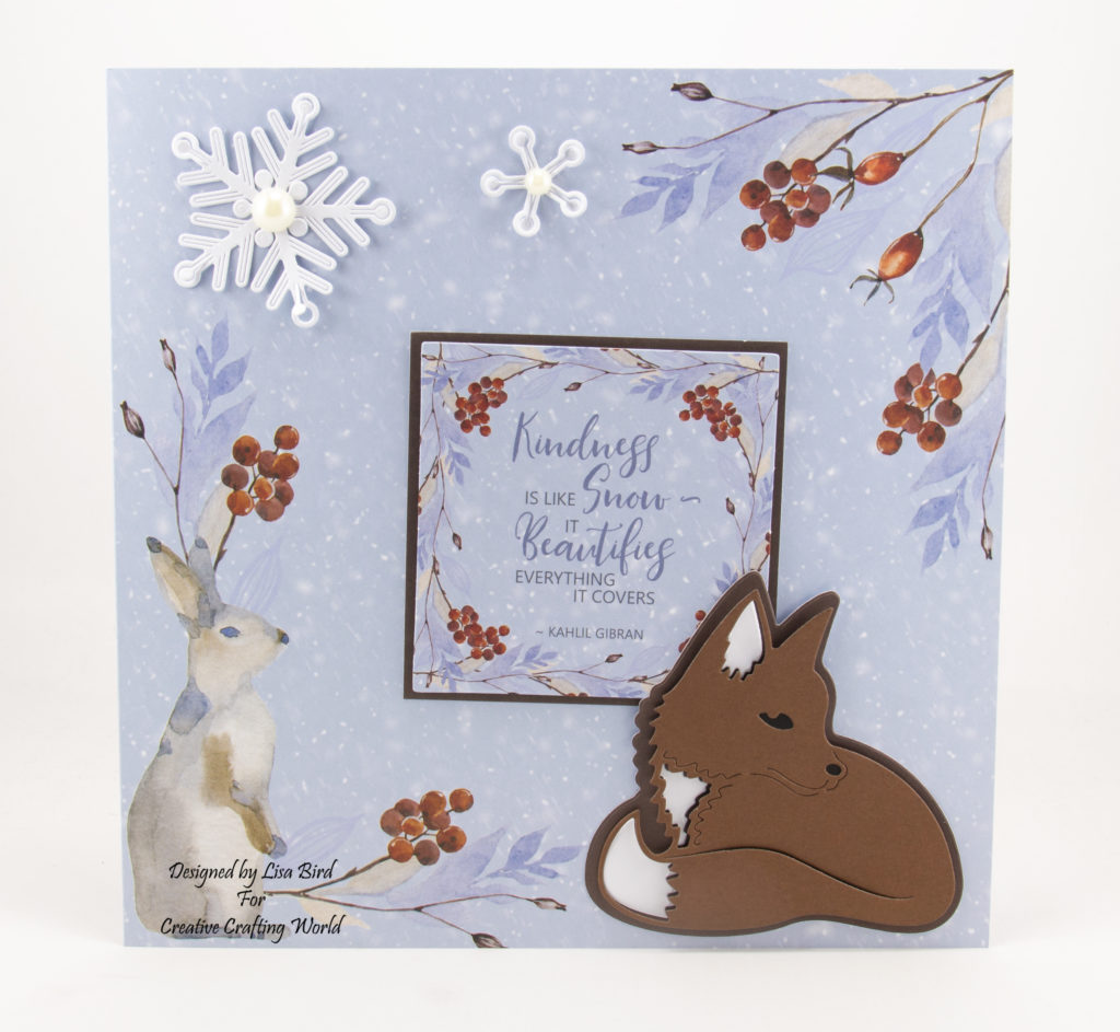 Christmas card on a printed card with a fox and snow flakes