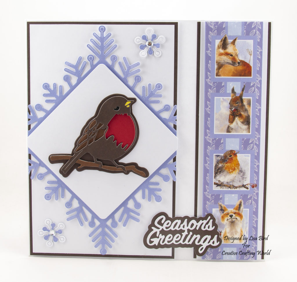 Season's greetings Christmas card using a sprinkle of winter collection with a robin