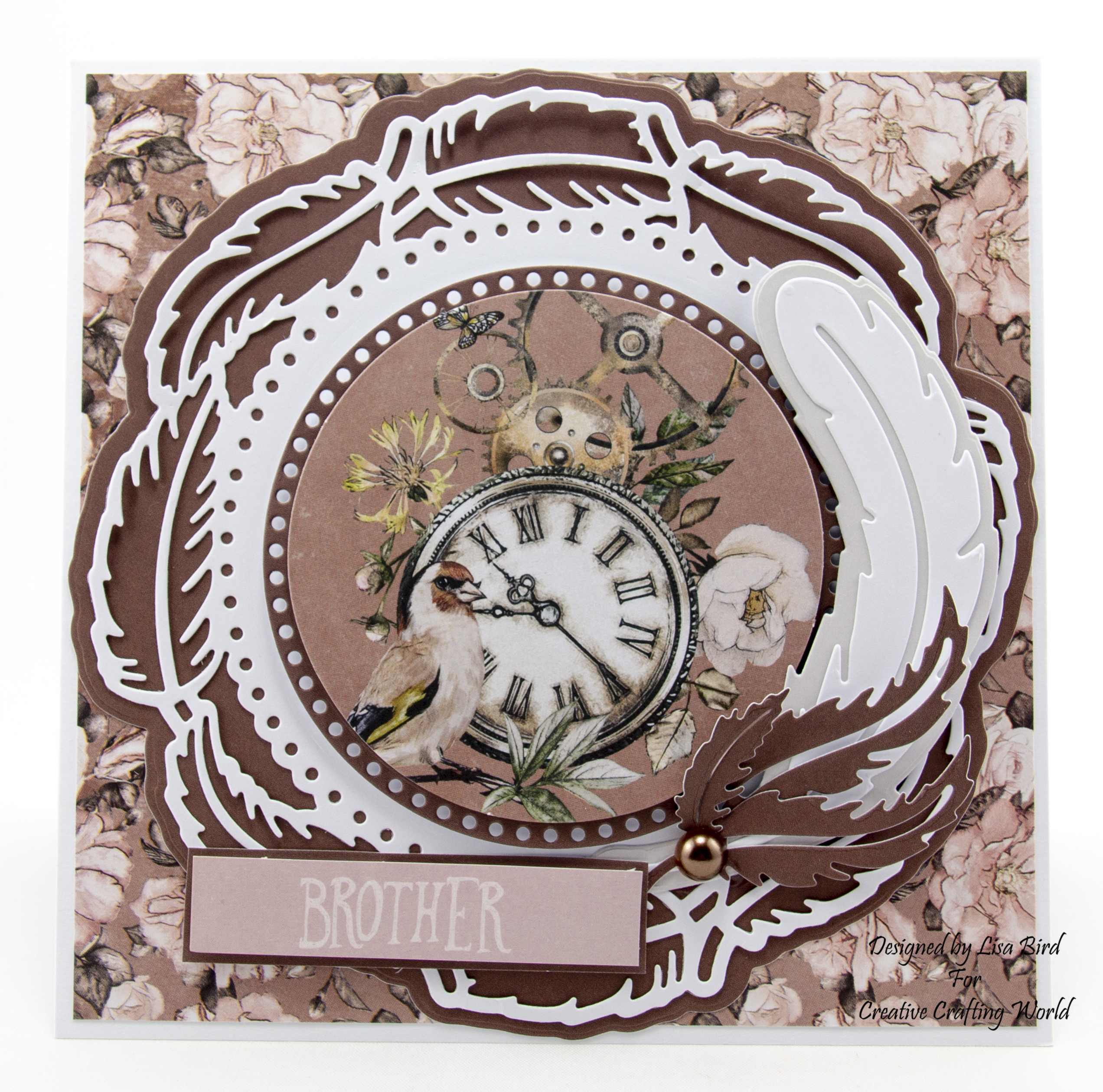 Steampunk handmade card with clock and feathers