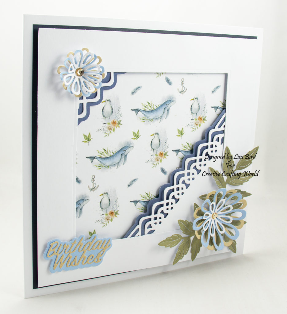 Handmade card showing the side view using Ocean breeze paper collection