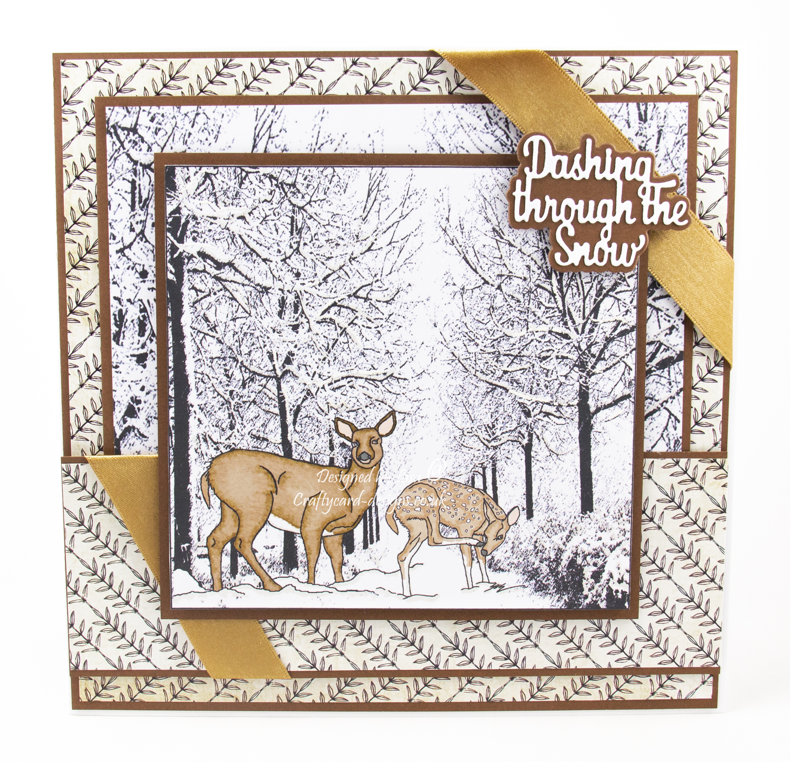 Handmade card using Ike's Art Snow Deer digi image