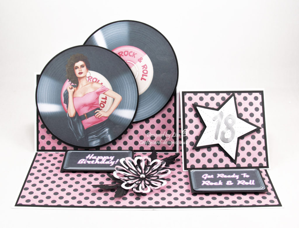 Handmade birthday card using Rock And Roll cd rom