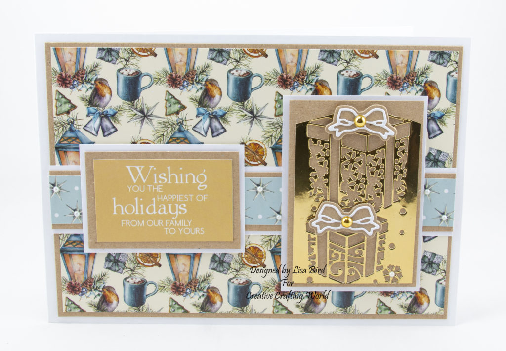 An A5 card using A Traditional Christmas paper collection from creative crafting world