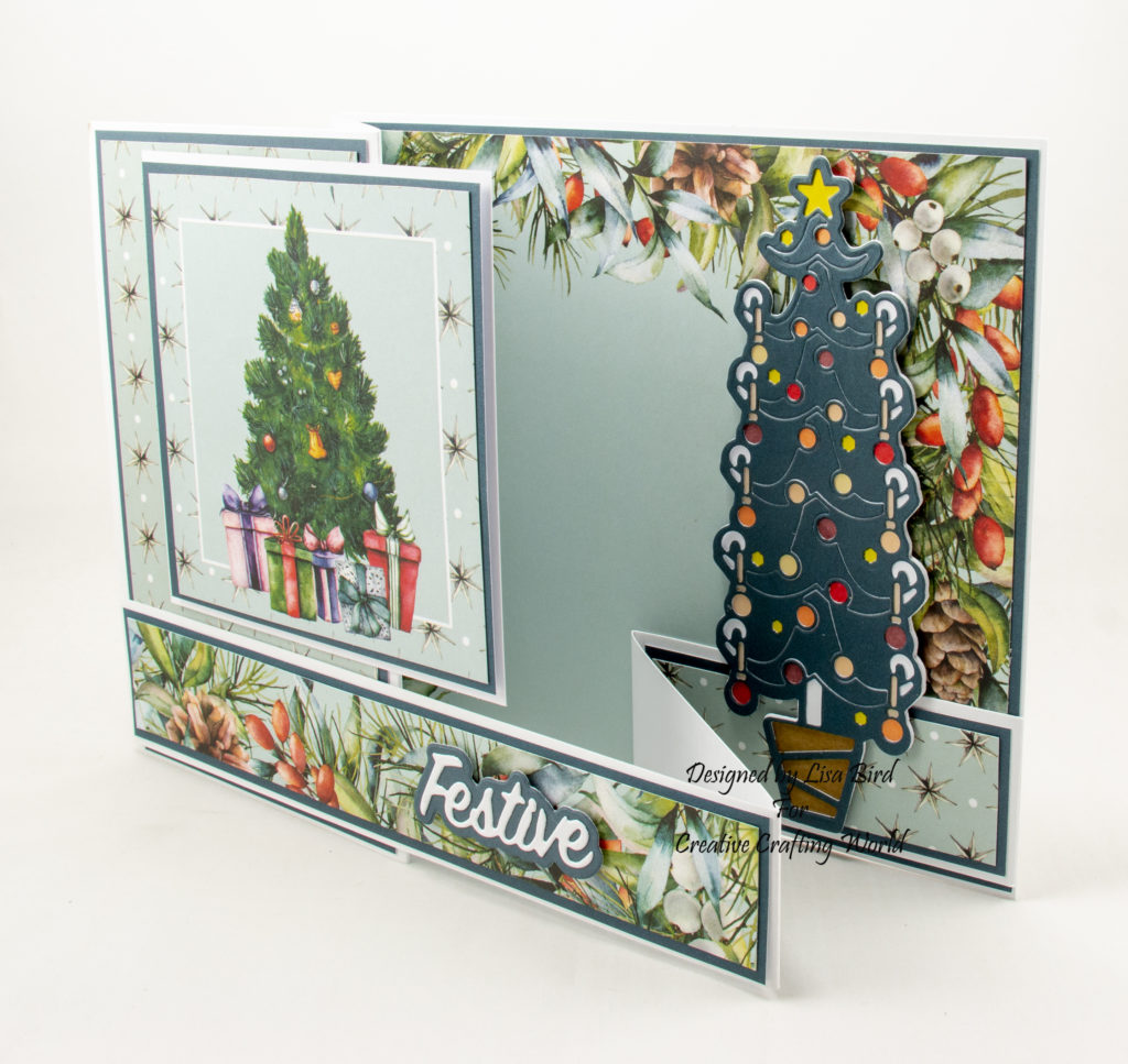 Different view of Christmas card showing the die cut Christmas tree