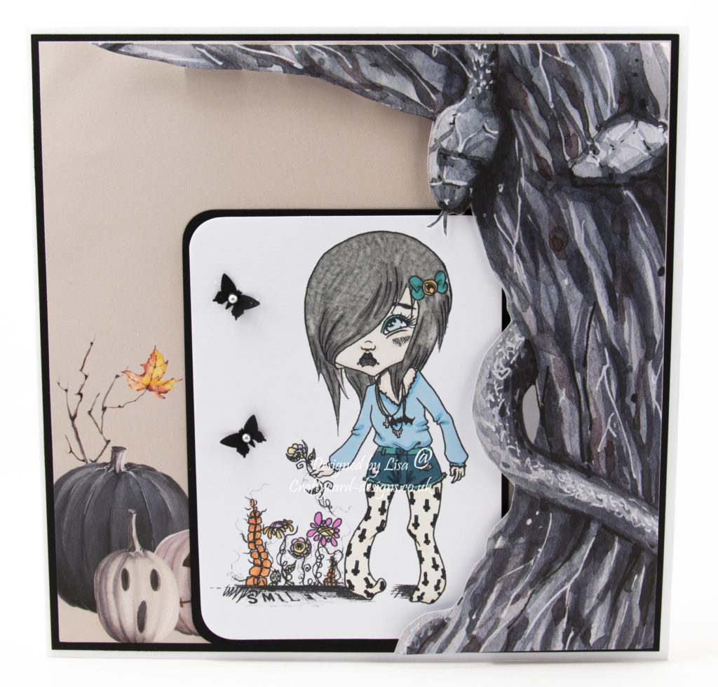 Handmade card using digi image from Oddball Art Co called Tiff's Garden