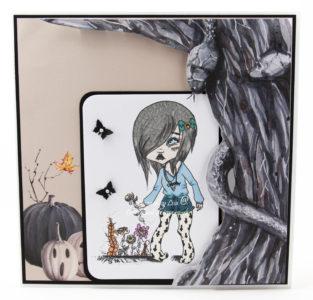 Handmade card using digi image from Oddball Art Co
