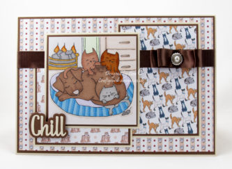 Handmade card using Knitty Kitty : Labrador Massage digi image