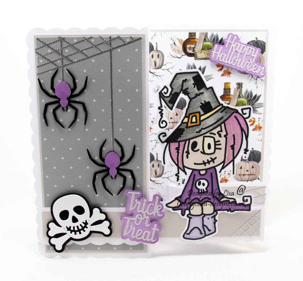 handmade card using digi image Halloween Skelekinz Sitter
