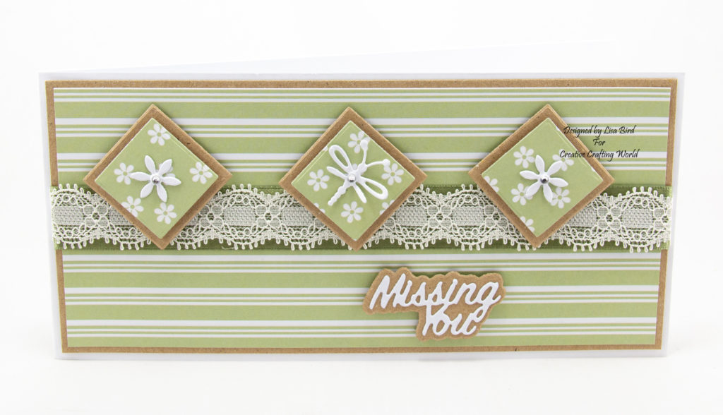 Handmade card using Perfect Partners Paper Collection and Alphabet die collection - missing you