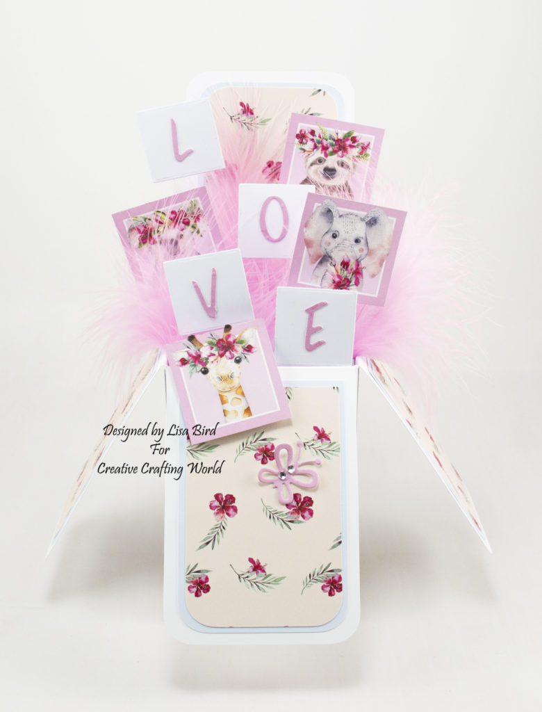 handmade pop up box card has been created using a new paper collection called Wild and Wonderful from Creative Crafting World.