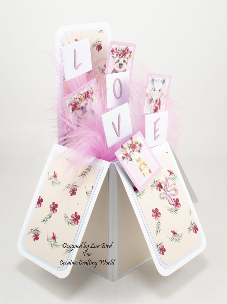 side view of handmade pop up box card has been created using a new paper collection called Wild and Wonderful