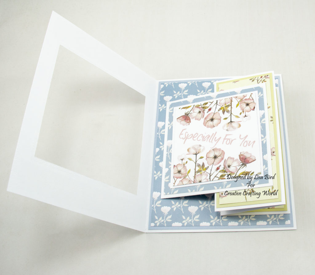 Swing card inside using Where Wild Roses Grow paper collection