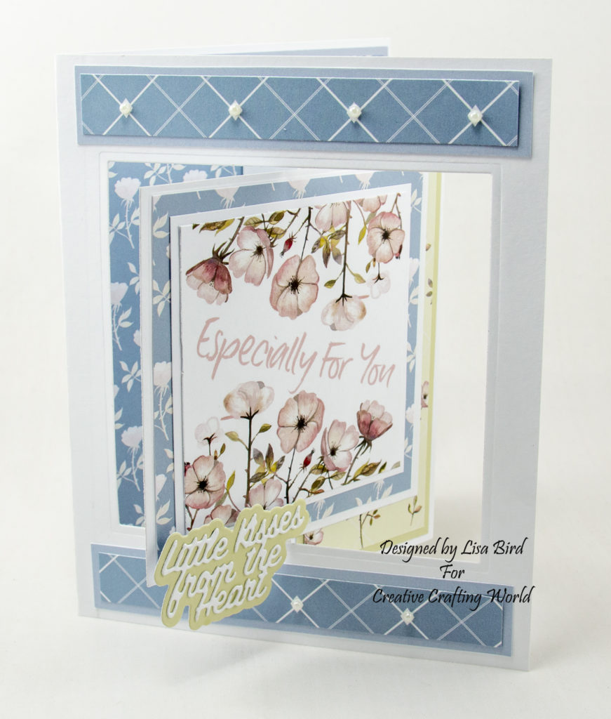 Swing card open view using Where Wild Roses Grow paper collection