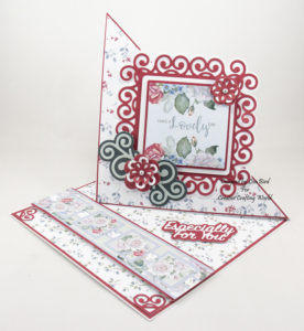 Handmade easel card using The walled garden paper collection