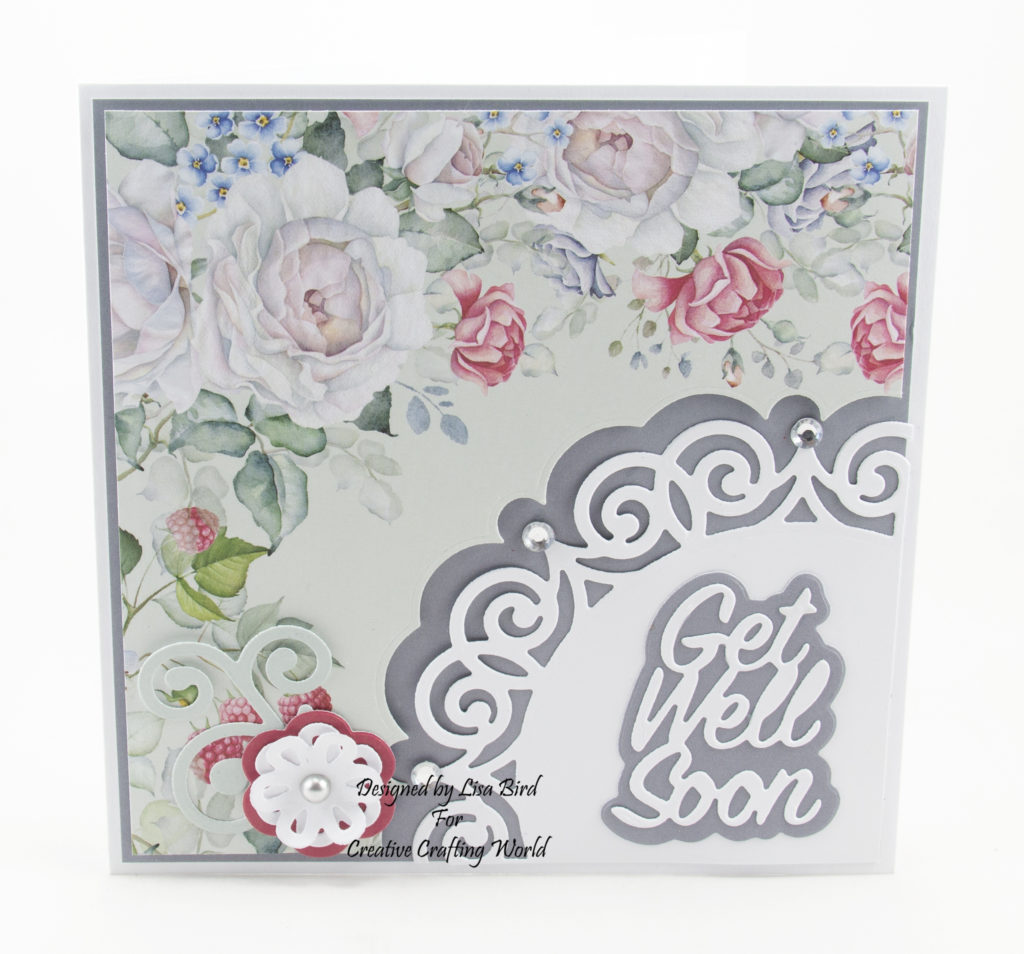 Handmade card using Walled Garden paper collection and Filigree Fancies die collection.