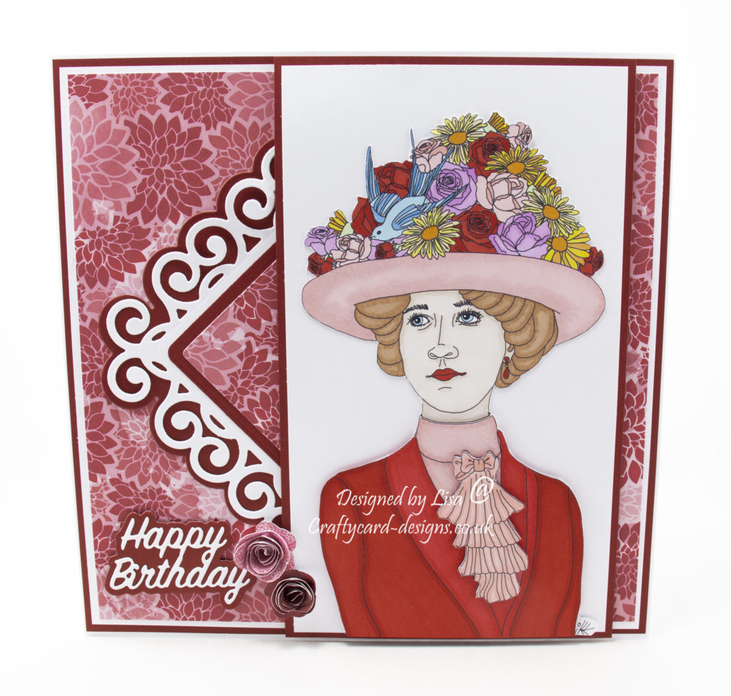 Happy birthday card using a digi image from Ike's Art, Vintage Easter Bonnet