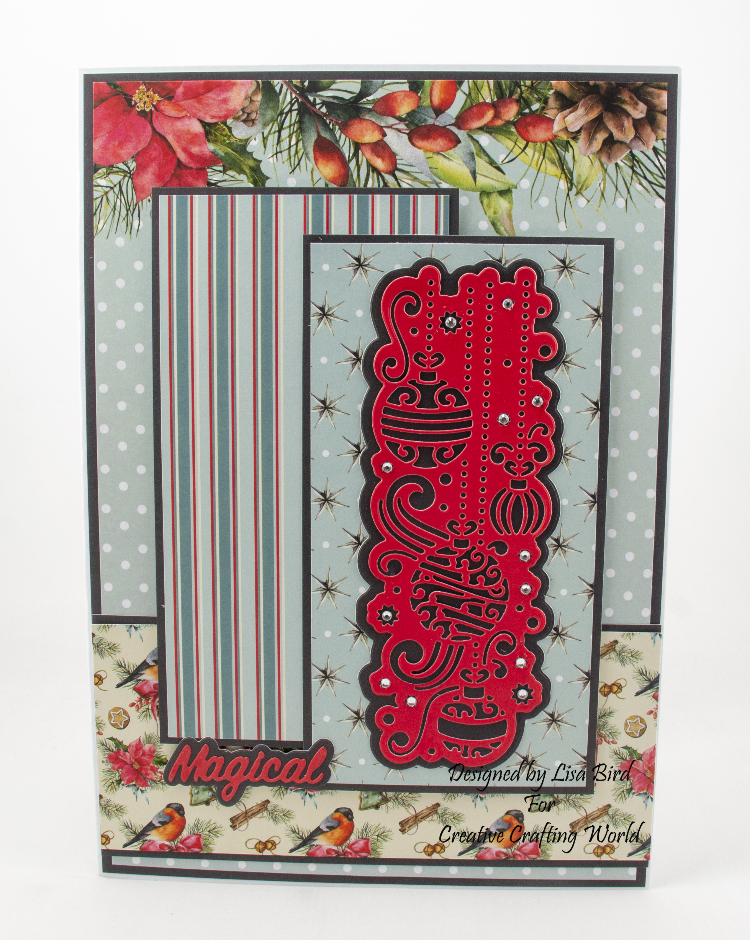 Handmade Christmas Card using Festive Trimmings – Magical die collection