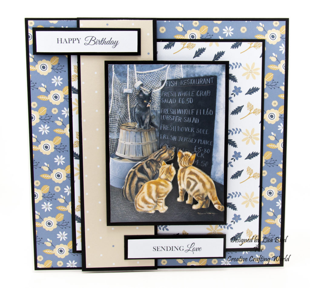 handmade card has been created using a dvd-rom called Majestic Cats from Creative Crafting World