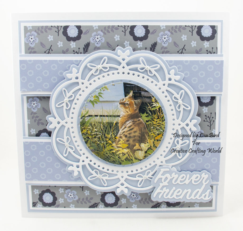 handmade card created using a dvd-rom called Majestic Cats from Creative Crafting World